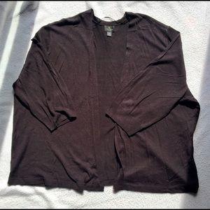 Worthington 2x, 3/4 sleeve, black cardigan